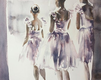 Ballerinas in the Wings QUALITY GICLEE PRINT on fine art paper