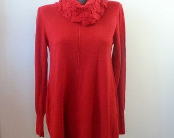 Red Wool Sweater, Winter BETTY BARCLAY Red  Jumper, Betty BARCLAY Sweater, Tunic, Size 40