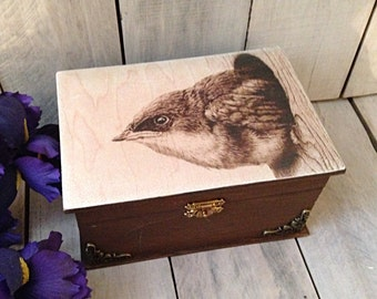 wood box-wooden box-bird box-wooden trinket box-nature box-painted box-painted storage box-decoupage box-cottage box-farm box-rustic box