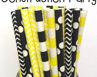 Paper Straws - Set of 25 -Black/Yellow Straws - Cake Pop Sticks - Drinking Straws