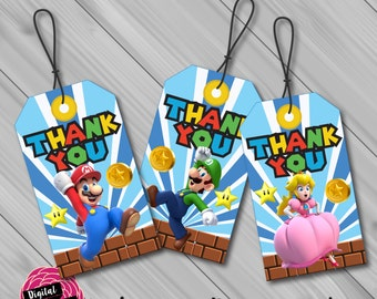 Super Mario Thank You/Favour Tags. Instant Download! Digital File/Printable.