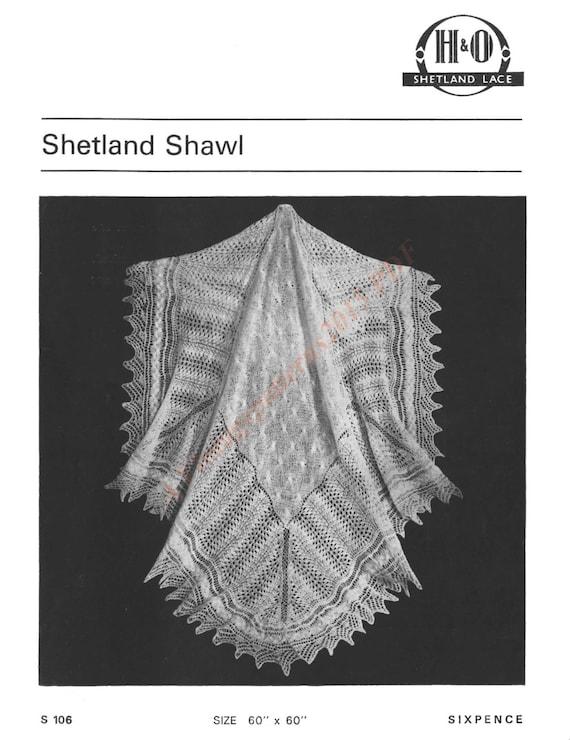 Knitting Pattern For Shetland Lace Shawl : Vintage Shetland Lace Shawl Knitting by VintagePatterns2015