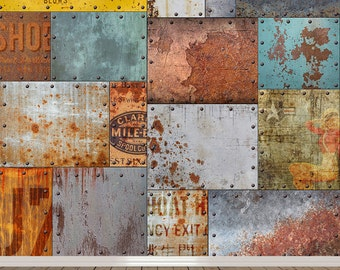 Vintage Rusty Steel Mural - Self-Adhesive Wallpaper - Retro Advertising Mural - FREE SHIPPING