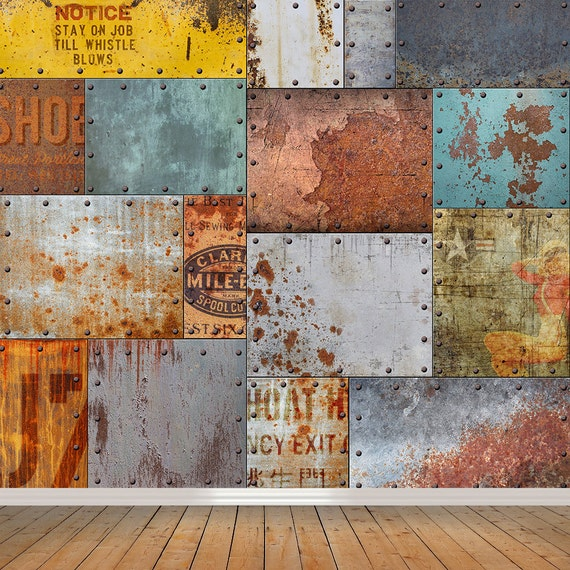 vintage rusty steel mural self adhesive wallpaper retro