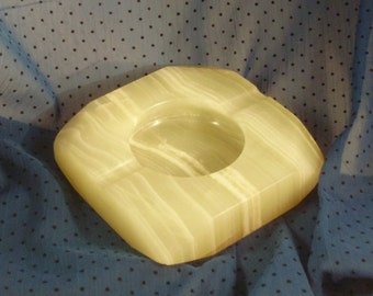 Pale Green Heavy Onyx Paperweight Ashtray