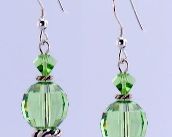 Green Faceted Crystal Earrings - E2013