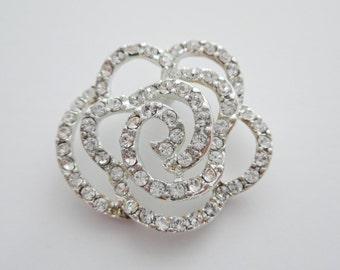 silver rose, rhinestone rose, rodium plated rhinestone rose, rose pendant