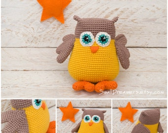 Owl toy Crochet amigurimi owl Plush crochet toy Stuffed owl Crochet animals Woodland amigurumi bird Nursery decor Crochet toy Soft baby gift