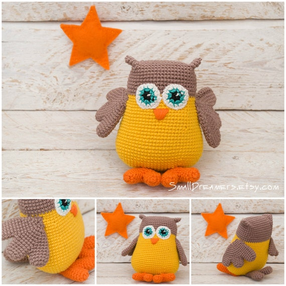 Free Owl Stuffed Cuddly Crochet Pattern : Owl toy Crochet amigurimi owl Plush crochet toy Stuffed owl