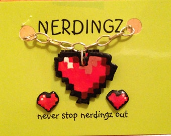 8 Bit Heart Necklace and Earring Set