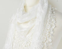 White Lace Triangle Rose Design Scarf,Teardrop,Pretty Scarf,Lace Scarf, Neck Scarf,Teen Gift,Ladies Gift, Formal Scarf, Wedding, Party