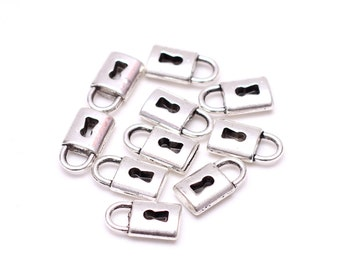 10 pcs Silver Plated Lock Charms, Small Lock Charms in Bulk, Jewelry Findings, Wholesale Jewelry Supplies