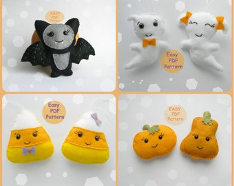 set pdf pattern felt halloween ornaments instant download template tutorial halloween decorations diy