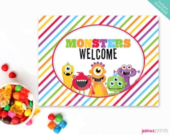 Instant Download Monster Printable Party Welcome Sign, Welcome Monsters Party Sign, Monsters Party Printable, Monster Mongrels Party Sign