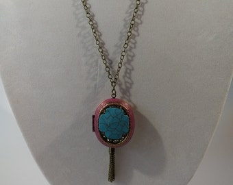 Purple Locket with Turquoise Stone Center/Bronze Tassel Detail/Bronze Chain Necklace/Costume Jewelry/Gifts for Her