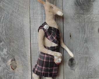 Scottish Hare Rabbit with Kilt Primitive Soft Sculpture Doll