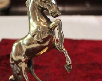 "Vintage Solid Brass Unicorn Large 7"" Tall"
