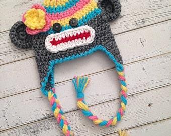 Crocheted Sock Monkey Hat, Rainbow Hat, Rainbow Sock Monkey, Photo Prop Monkey Hat, Rainbow Beanie, Girl Sock Monkey Beanie, MADE TO ORDER!
