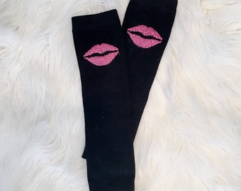 Lips Sparkle Leg Warmers with Gold Glitter Heart