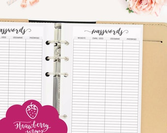 "Password printable: ""PASSWORD LOG"" Password keeper 