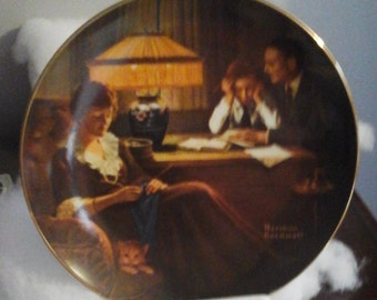"""Knowles, Norman Rockwell collectors plate  - Rockwell's  Light Campaign Series #3 - """"Father's Help"""""""