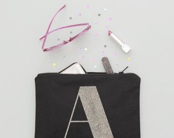 Monogram Clutch - Initial Clutch - Canvas Makeup Bag - Cosmetics Pouch - Personalised Makeup Bag - Glitter Initial Clutch - Alphabet Bags