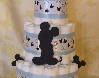 3 Tier Diaper Cake Walt Disney Mickey Mouse Baby Shower Theme