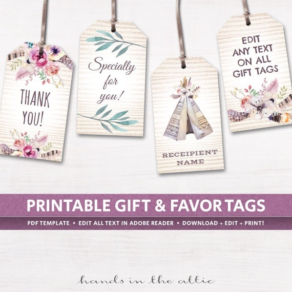 Editable boho tags gifts favors printable by handsintheattic for Tags for gift bags template