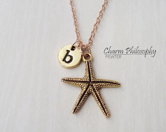 Gold Starfish Necklace - Ocean Life Jewelry - Personalized Monogram Initial Necklace
