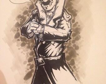 Rorschach (Watchmen) - 9x12 canvas board original drawing