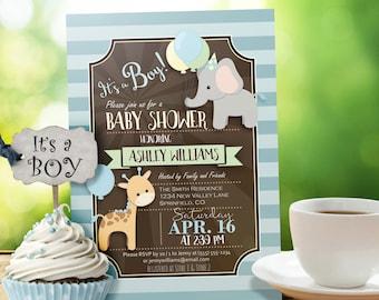 Zoo Animal Baby Shower Invitation, Boy - Personalized Printable DIGITAL FILE