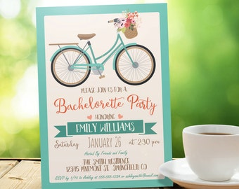 Vintage Bicycle, Retro Bachelorette Party Invitation - Personalized Printable DIGITAL FILE