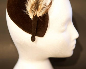 Black Velvet and Feather Vintage Headdress