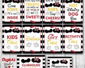 Mickey & Minnie Mouse Birthday Party Table Signs BUNDLE - We've Got Ears, Say CHEERS - Hot Diggity Dog Bar -Please enjoy some TREATS-