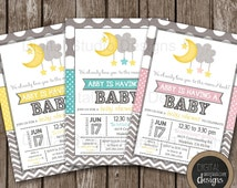 Love You to the Moon and Back Baby Shower Invitation - Gender Neutral - Girl - Boy - Modern Design - Front and Back Included -  Any Size -