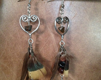 Feather earrings with Tigers eye stone beads