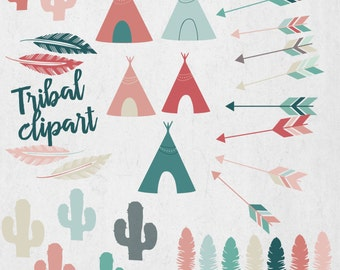 Tribal clipart, arrows, cactus, teepee, feather, dots, aztec, Indian, instant download