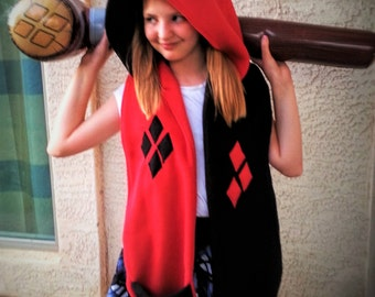 Harley Quinn Style Hooded Scarf