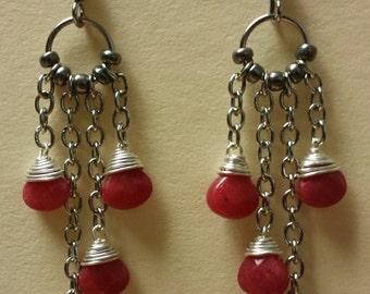 Red Jade Wire Wrap Chandelier Earrings