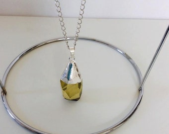 Semi Precious Prasiolite Quartz Stone Pendant on Long Chain