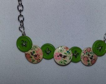 Cute Green/Pink Floral Wooden and Plastic Button Necklace