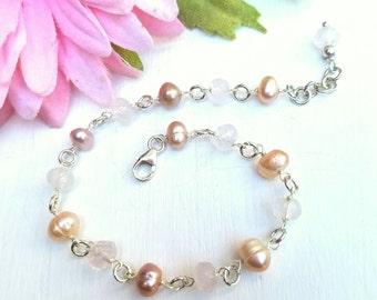 Sterling Silver Pearl Bracelet w/ Rose Quartz ~ Beaded Pearl ~ Rose Quartz Bracelet ~ Bridal Bracelet ~ Wedding Bracelet ~ Pink Pearls