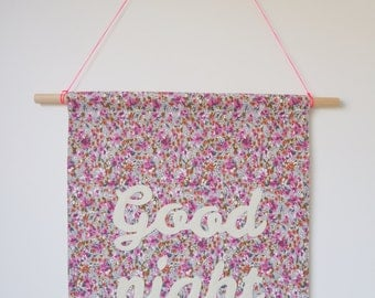 GOOD NIGHT fabric wall banner