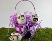 Easter Egg Murder, 6 eggs: Dark Humor, needle felt art