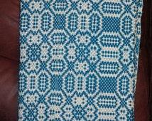 RARE 1800's Jacquard Antique Homespun Indigo Two Sided Coverlet / Antique Homestead Fabric Art / 19th century / nineteenth century