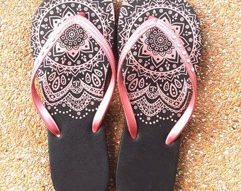 Flip flops wedding flip flops women shoes  henna flip flop henna shoes sandals women sandals gift women gift for her gift for mom