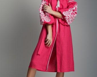 Pink Embroidered dress. Ukrainian vyshyvanka. Linen dress. Boho Style Dress