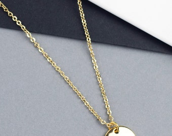 minimal gold circle necklace