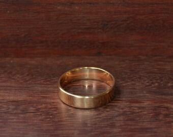 9ct Yellow Gold Flat Wedding Band - 5mm width - Unisex