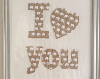 Fabric letters; Fabric picture; Valentine's gift; Framed picture; Wall letters; Home decor; Wall decor; Fabric wall hanging; Shabby chic